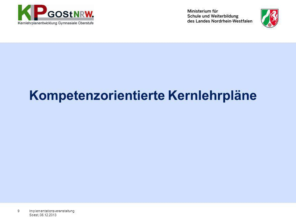 KapitelGliederungspunkt Vorbemerkungen 1 Aufgaben und Ziele des Faches 2 Kompetenzbereiche, Inhaltsfelder und Kompetenzerwartungen 2.1 Kompetenzbereiche und Inhaltsfelder des Faches 2.3 Hebräisch als neu einsetzende Fremdsprache 2.3.1 Kompetenzerwartungen und inhaltliche Schwerpunkte bis zum Ende der Einführungsphase 2.3.2 Kompetenzerwartungen und inhaltliche Schwerpunkte bis zum Ende der Qualifikationsphase 3 Lernerfolgsüberprüfung und Leistungsbewertung 4 Abiturprüfung 5 Anhang 20 Implementationsveranstaltung Soest, 06.12.2013