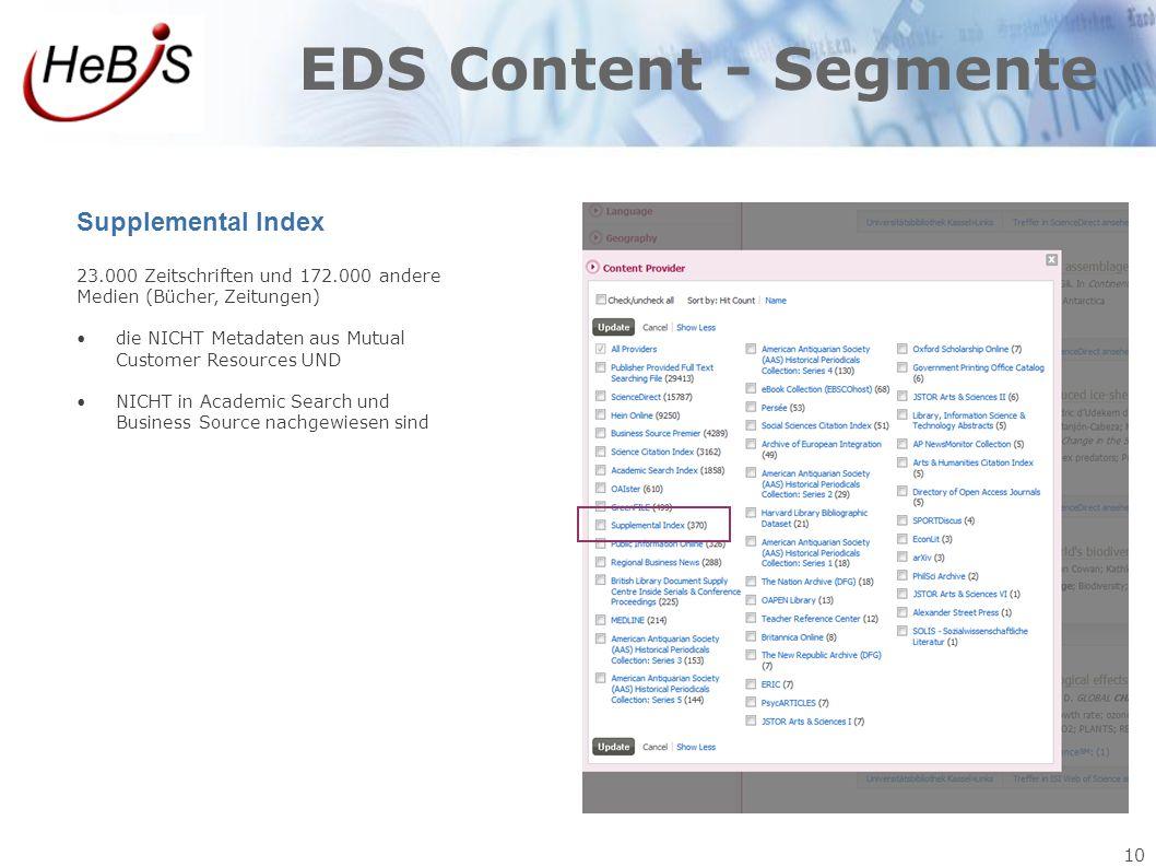 10 EDS Content - Segmente Supplemental Index 23.000 Zeitschriften und 172.000 andere Medien (Bücher, Zeitungen) die NICHT Metadaten aus Mutual Custome