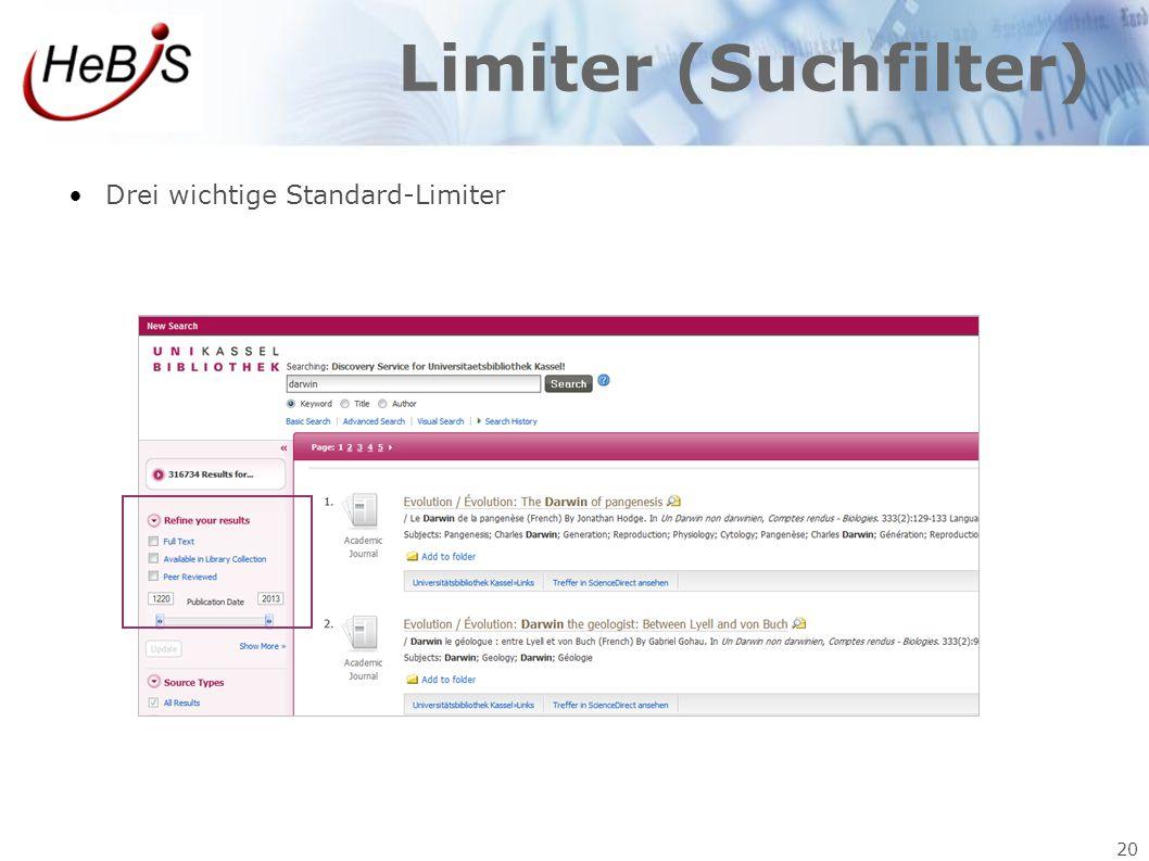 20 Limiter (Suchfilter) Drei wichtige Standard-Limiter