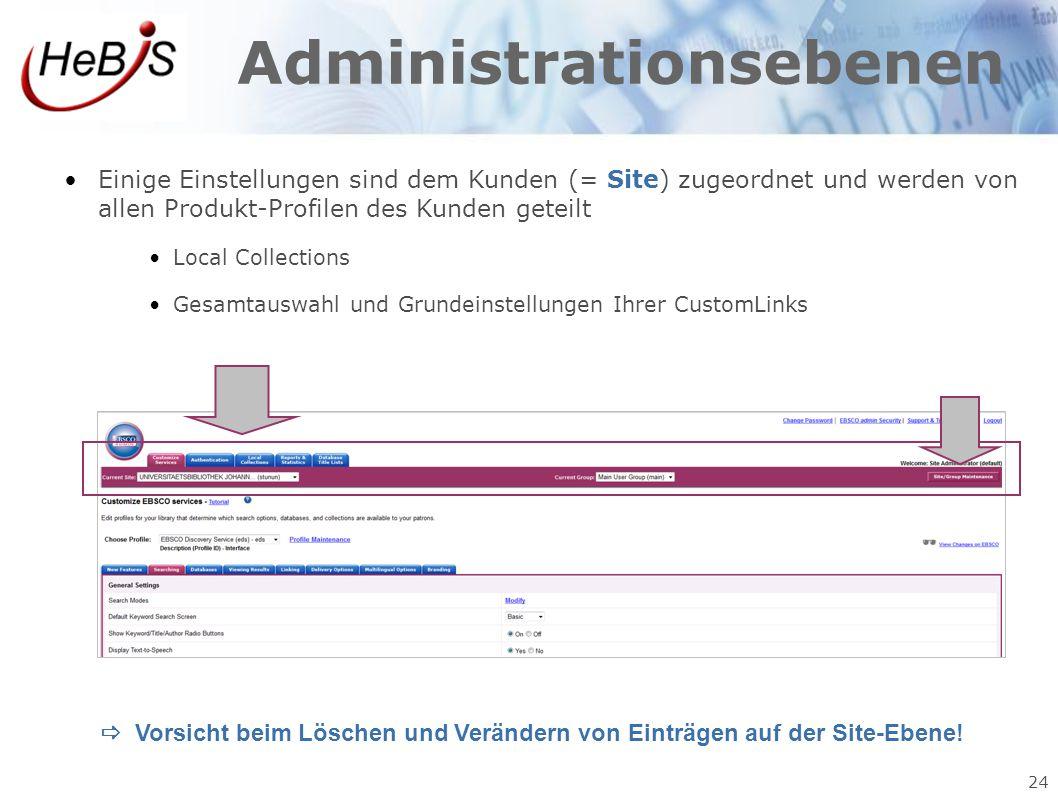 24 Administrationsebenen Einige Einstellungen sind dem Kunden (= Site) zugeordnet und werden von allen Produkt-Profilen des Kunden geteilt Local Colle