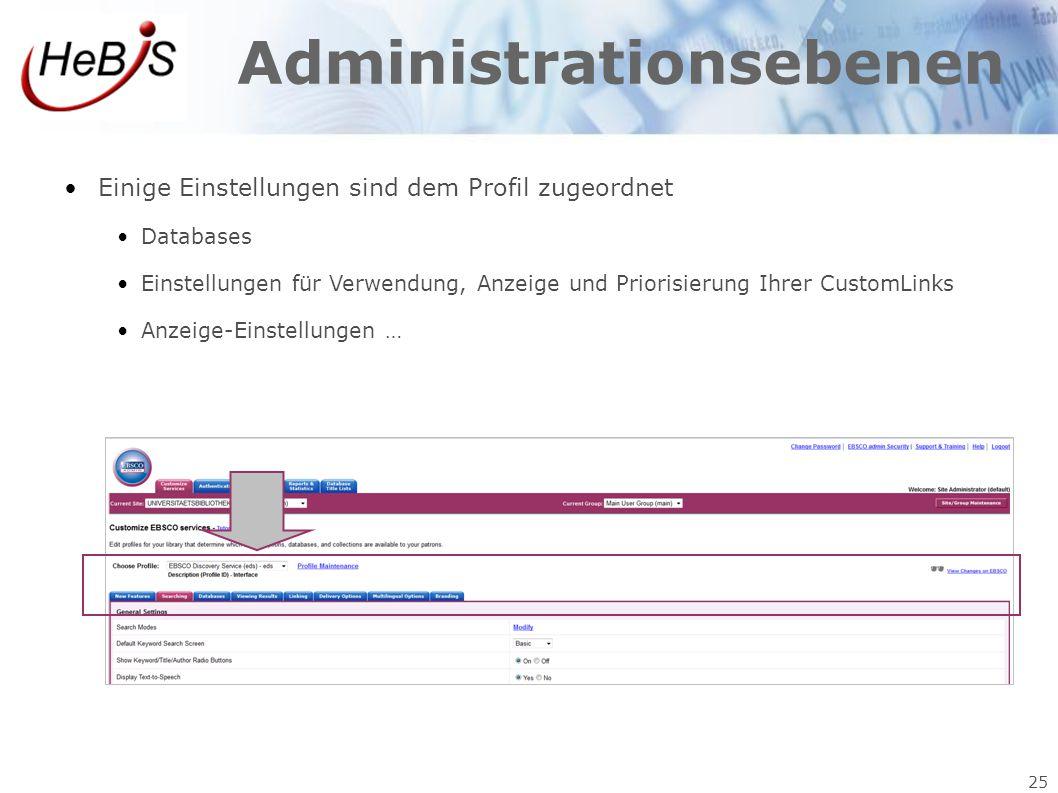 25 Administrationsebenen Einige Einstellungen sind dem Profil zugeordnet Databases Einstellungen für Verwendung, Anzeige und Priorisierung Ihrer Custo
