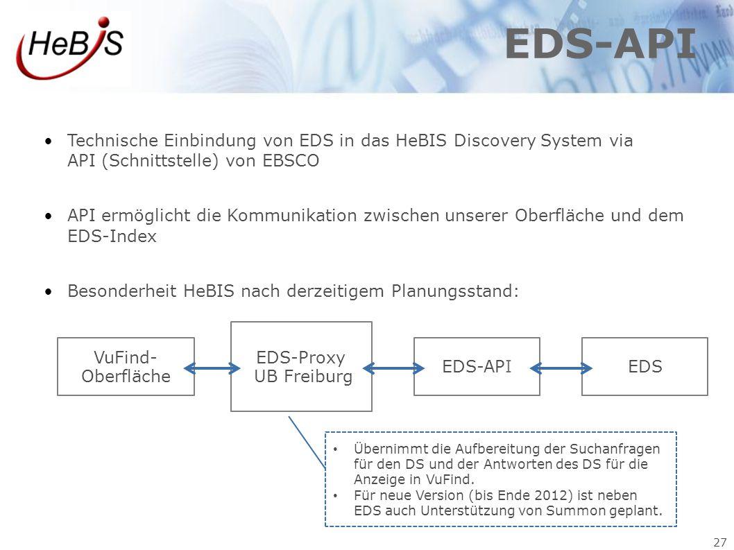 27 EDS-API Technische Einbindung von EDS in das HeBIS Discovery System via API (Schnittstelle) von EBSCO API ermöglicht die Kommunikation zwischen uns