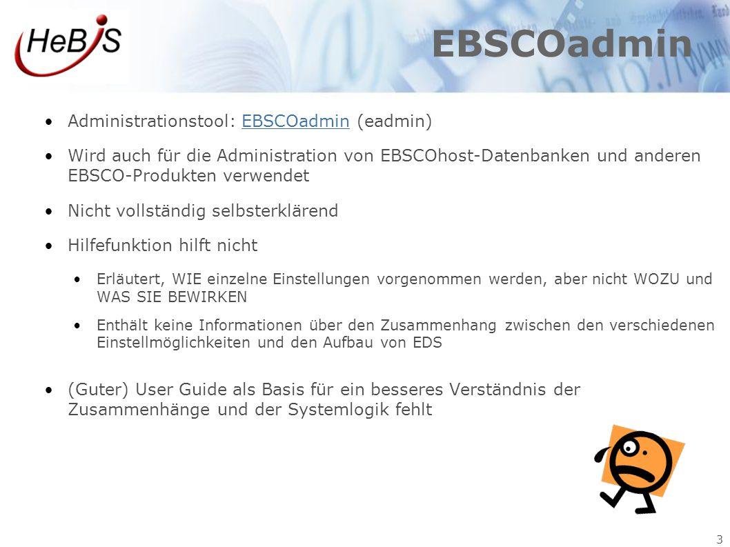 3 EBSCOadmin Administrationstool: EBSCOadmin (eadmin)EBSCOadmin Wird auch für die Administration von EBSCOhost-Datenbanken und anderen EBSCO-Produkten
