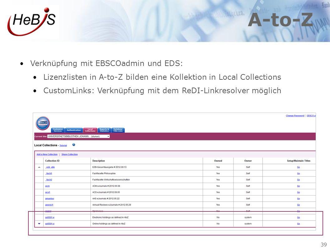 39 A-to-Z Verknüpfung mit EBSCOadmin und EDS: Lizenzlisten in A-to-Z bilden eine Kollektion in Local Collections CustomLinks: Verknüpfung mit dem ReDI