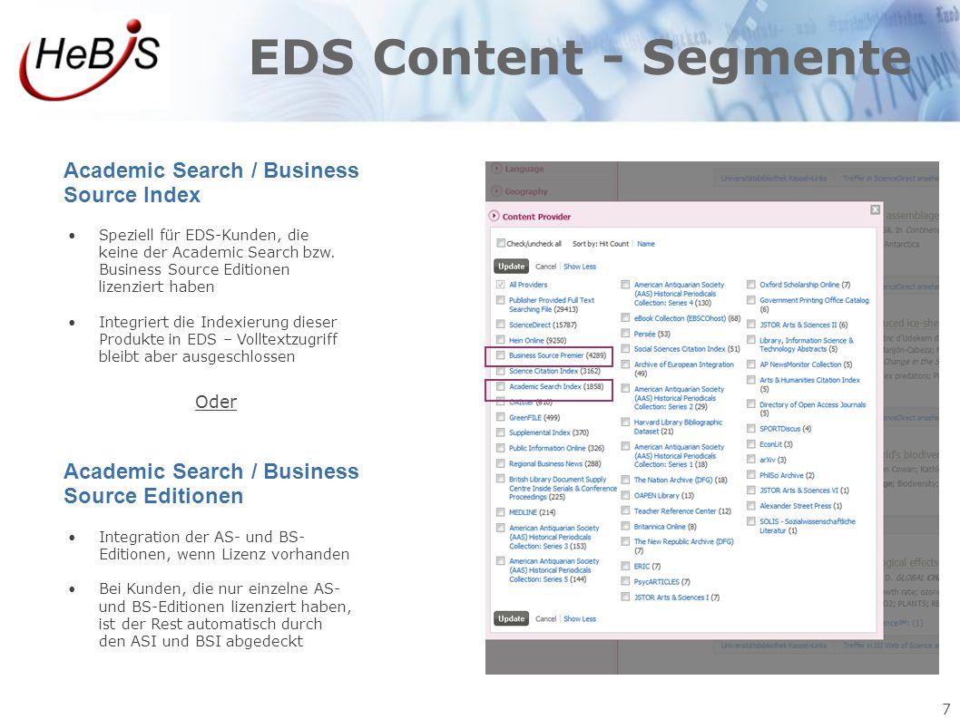 7 EDS Content - Segmente Academic Search / Business Source Index Speziell für EDS-Kunden, die keine der Academic Search bzw. Business Source Editionen