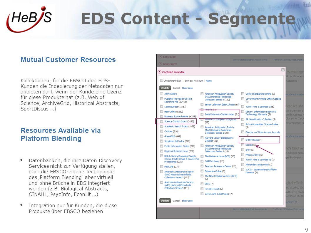 9 EDS Content - Segmente Mutual Customer Resources Kollektionen, für die EBSCO den EDS- Kunden die Indexierung der Metadaten nur anbieten darf, wenn d