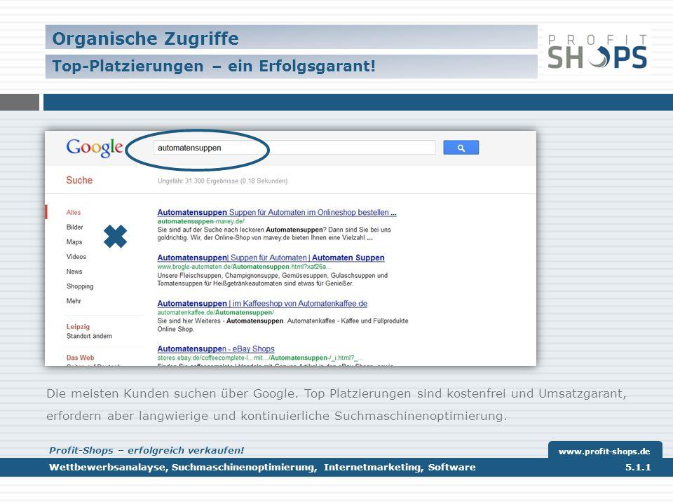 Verweisende Webseiten Einbindung in gängige Preisvergleiche/ Käuferportale ww.profit-shops.de Wettbewerbsanalayse, Suchmaschinenoptimierung, Internetmarketing, Software 5.1.1 www.profit-shops.de Profit-Shops – erfolgreich verkaufen!