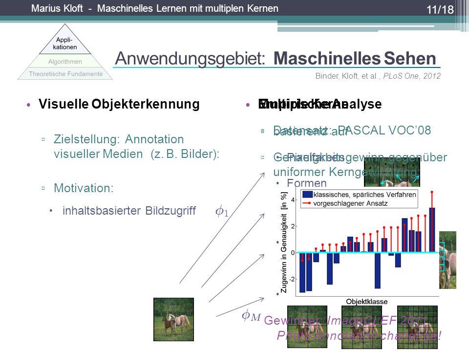 Marius Kloft - Maschinelles Lernen mit multiplen Kernen Visuelle Objekterkennung ▫ Zielstellung: Annotation visueller Medien (z. B. Bilder): ▫ Motivat