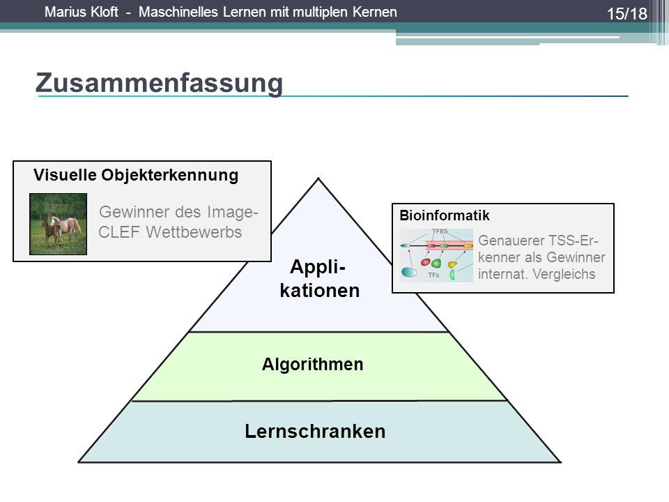Marius Kloft - Maschinelles Lernen mit multiplen Kernen Zusammenfassung 15/18 Algorithmen Lernschranken Appli- kationen Visuelle Objekterkennung Gewin
