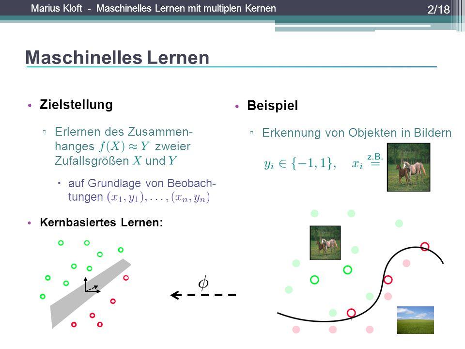 Marius Kloft - Maschinelles Lernen mit multiplen Kernen Zielstellung ▫ Erlernen des Zusammen- hanges zweier Zufallsgrößen und  auf Grundlage von Beob
