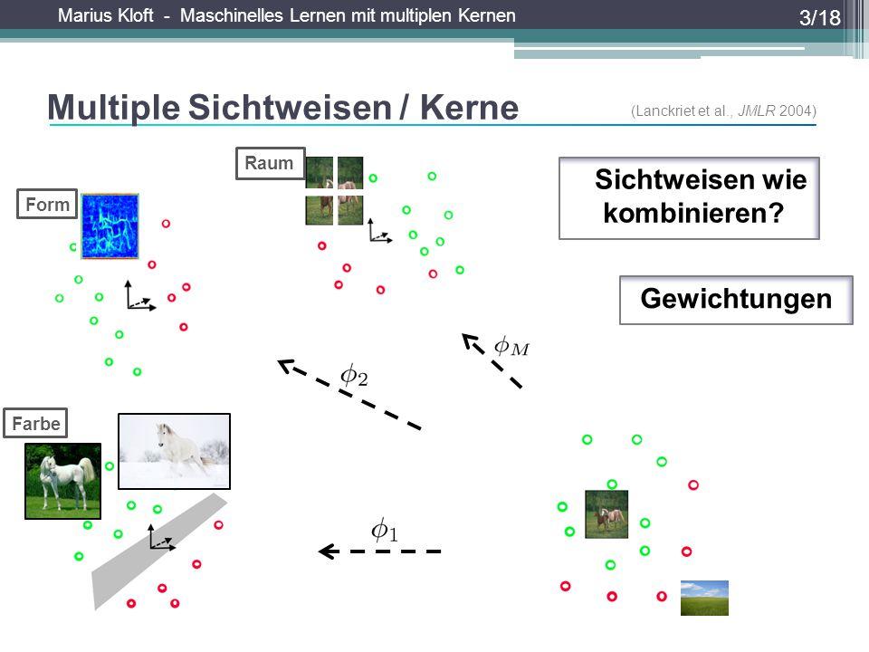 Marius Kloft - Maschinelles Lernen mit multiplen Kernen Multiple Sichtweisen / Kerne 3/18 Gewichtungen (Lanckriet et al., JMLR 2004) Form Raum Farbe W