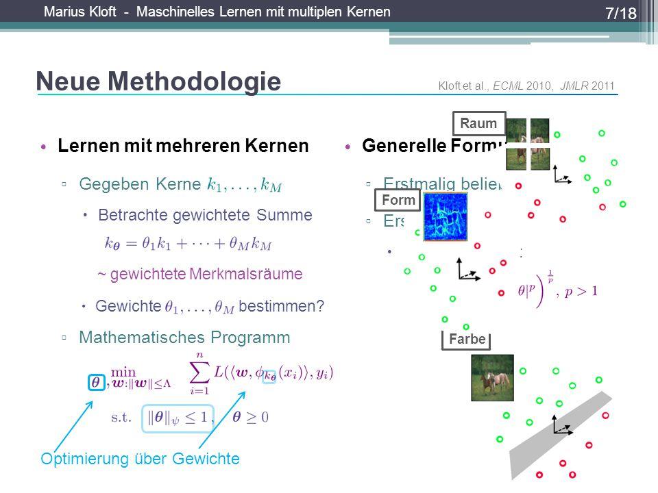 Marius Kloft - Maschinelles Lernen mit multiplen Kernen Farbe Generelle Formulierung ▫ Erstmalig beliebiger Verlust ▫ Erstmalig beliebige Normen  z.