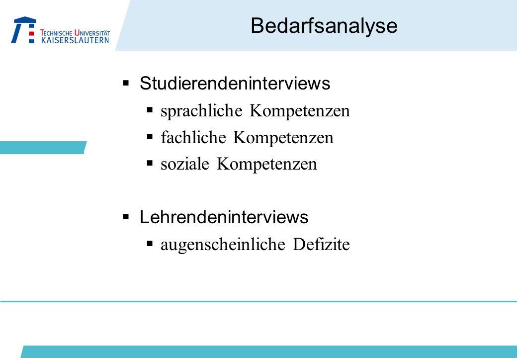 Bedarfsanalyse  Studierendeninterviews  sprachliche Kompetenzen  fachliche Kompetenzen  soziale Kompetenzen  Lehrendeninterviews  augenscheinlic