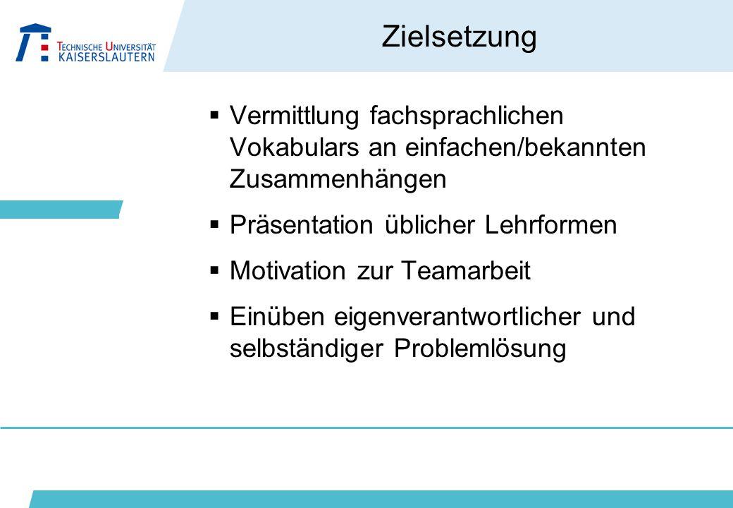 Zielsetzung  Vermittlung fachsprachlichen Vokabulars an einfachen/bekannten Zusammenhängen  Präsentation üblicher Lehrformen  Motivation zur Teamar