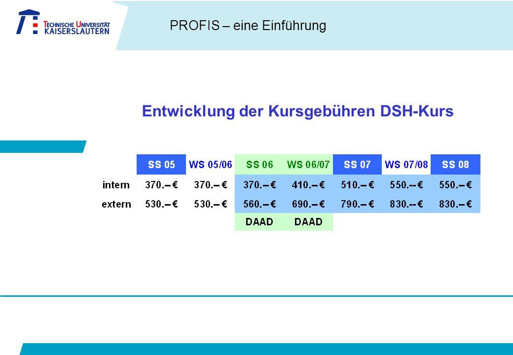 PROFIS – eine Einführung Entwicklung der Kursgebühren DSH-Kurs