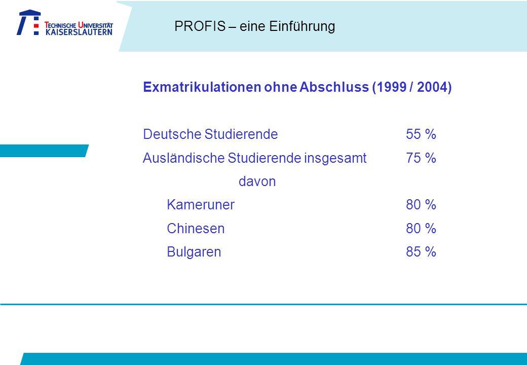 PROFIS – eine Einführung Exmatrikulationen ohne Abschluss (1999 / 2004) Deutsche Studierende55 % Ausländische Studierende insgesamt75 % davon Kameruner80 % Chinesen80 % Bulgaren85 %