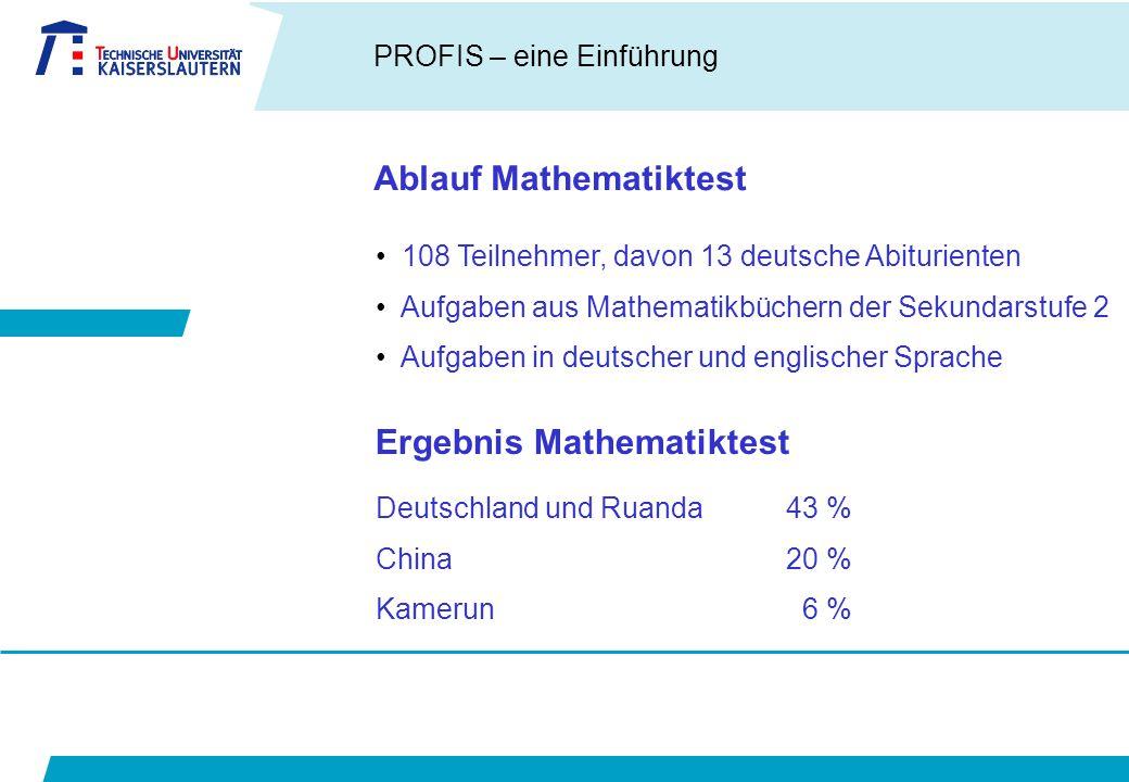 PROFIS – eine Einführung Ablauf Mathematiktest 108 Teilnehmer, davon 13 deutsche Abiturienten Aufgaben aus Mathematikbüchern der Sekundarstufe 2 Aufgaben in deutscher und englischer Sprache Ergebnis Mathematiktest Deutschland und Ruanda43 % China20 % Kamerun 6 %
