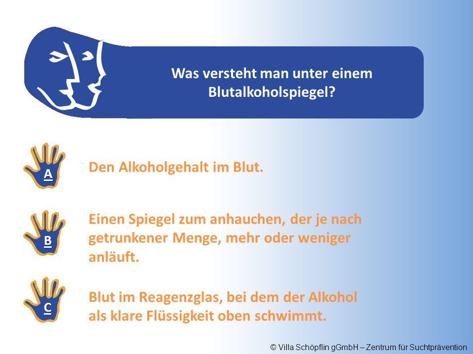 © Villa Schöpflin gGmbH – Zentrum für Suchtprävention Was versteht man unter einem Blutalkoholspiegel? AAAA BBBB CCCC Den Alkoholgehalt im Blut. Einen