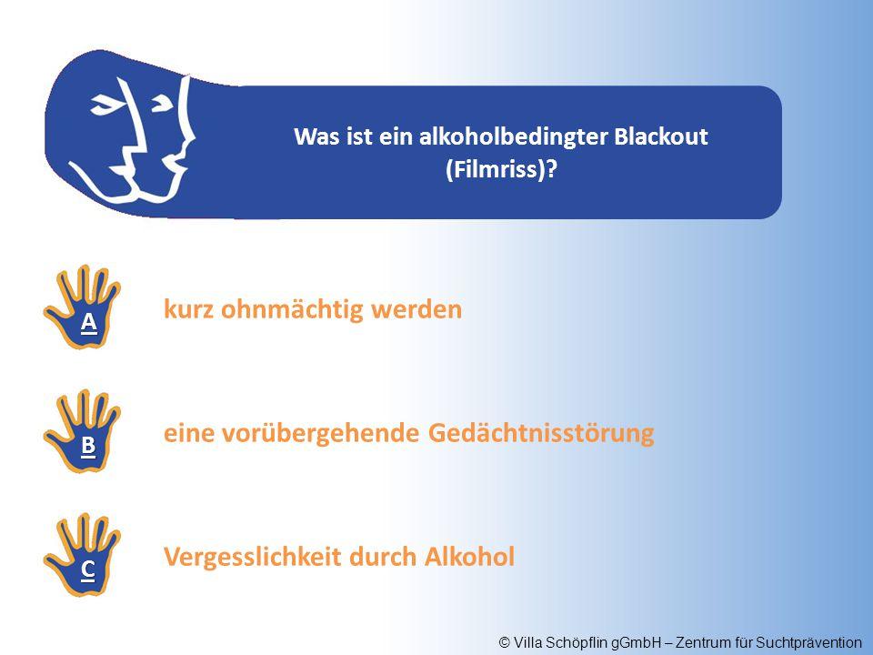 © Villa Schöpflin gGmbH – Zentrum für Suchtprävention Was ist ein alkoholbedingter Blackout (Filmriss)? AAAA BBBB CCCC kurz ohnmächtig werden eine vor
