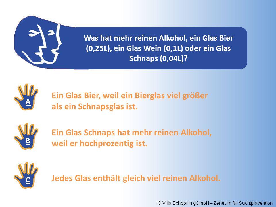 © Villa Schöpflin gGmbH – Zentrum für Suchtprävention Was hat mehr reinen Alkohol, ein Glas Bier (0,25L), ein Glas Wein (0,1L) oder ein Glas Schnaps (