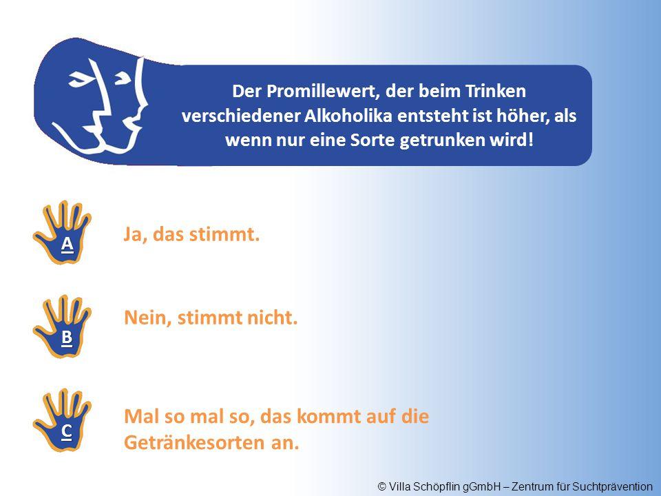 © Villa Schöpflin gGmbH – Zentrum für Suchtprävention Der Promillewert, der beim Trinken verschiedener Alkoholika entsteht ist höher, als wenn nur ein