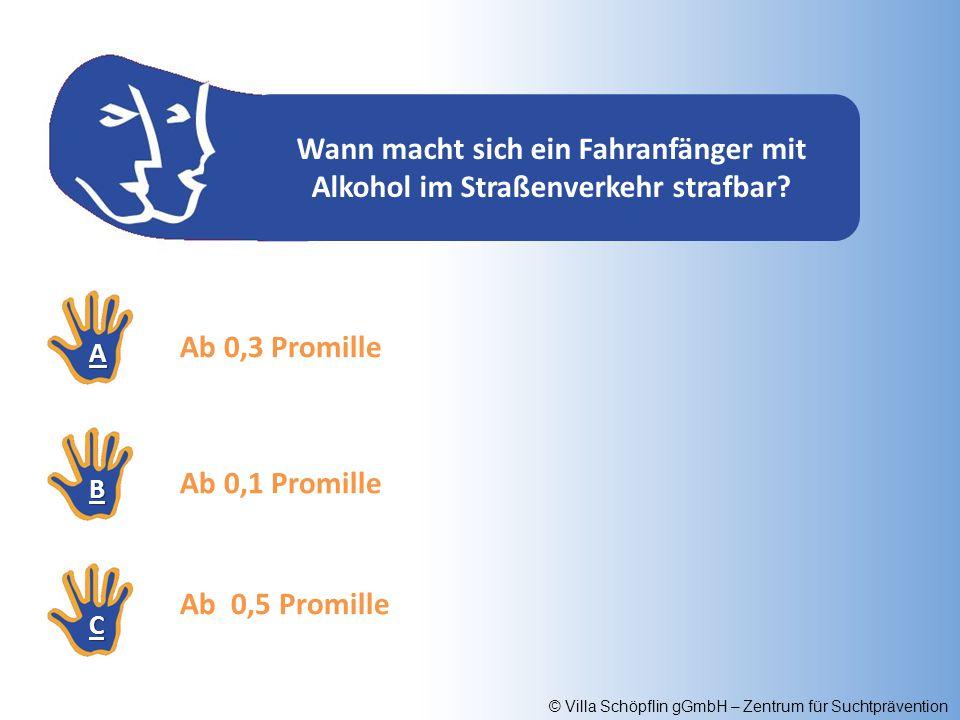 © Villa Schöpflin gGmbH – Zentrum für Suchtprävention Wann macht sich ein Fahranfänger mit Alkohol im Straßenverkehr strafbar? AAAA BBBB CCCC Ab 0,1 P