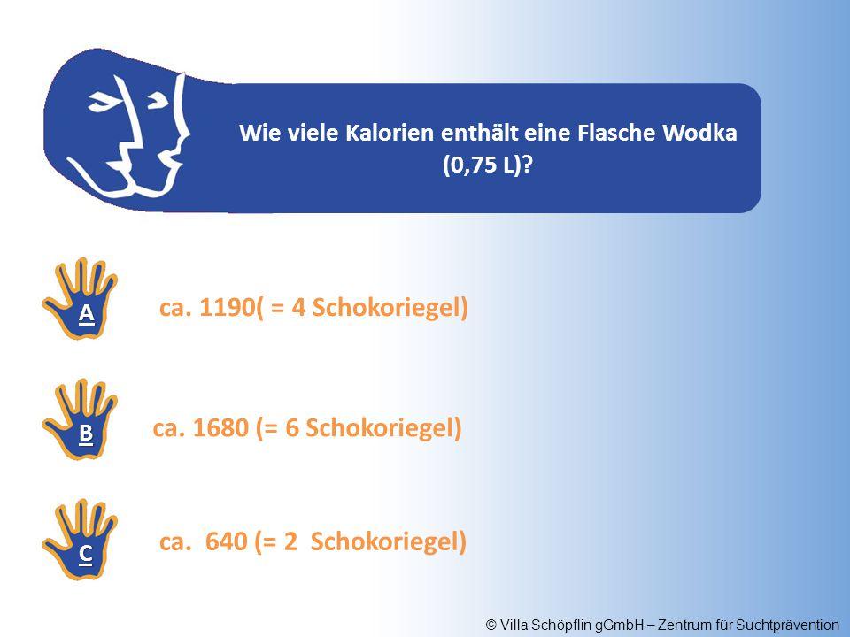 © Villa Schöpflin gGmbH – Zentrum für Suchtprävention Wie viele Kalorien enthält eine Flasche Wodka (0,75 L)? AAAA BBBB CCCC ca. 1680 (= 6 Schokoriege