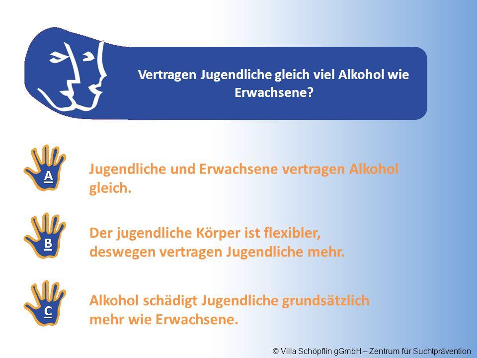© Villa Schöpflin gGmbH – Zentrum für Suchtprävention Wie viel Prozent der Jugendlichen, die in die Klinik wegen einer Alkoholvergiftung eingeliefert werden, haben vorher Hochprozentiges pur oder gemixt getrunken.
