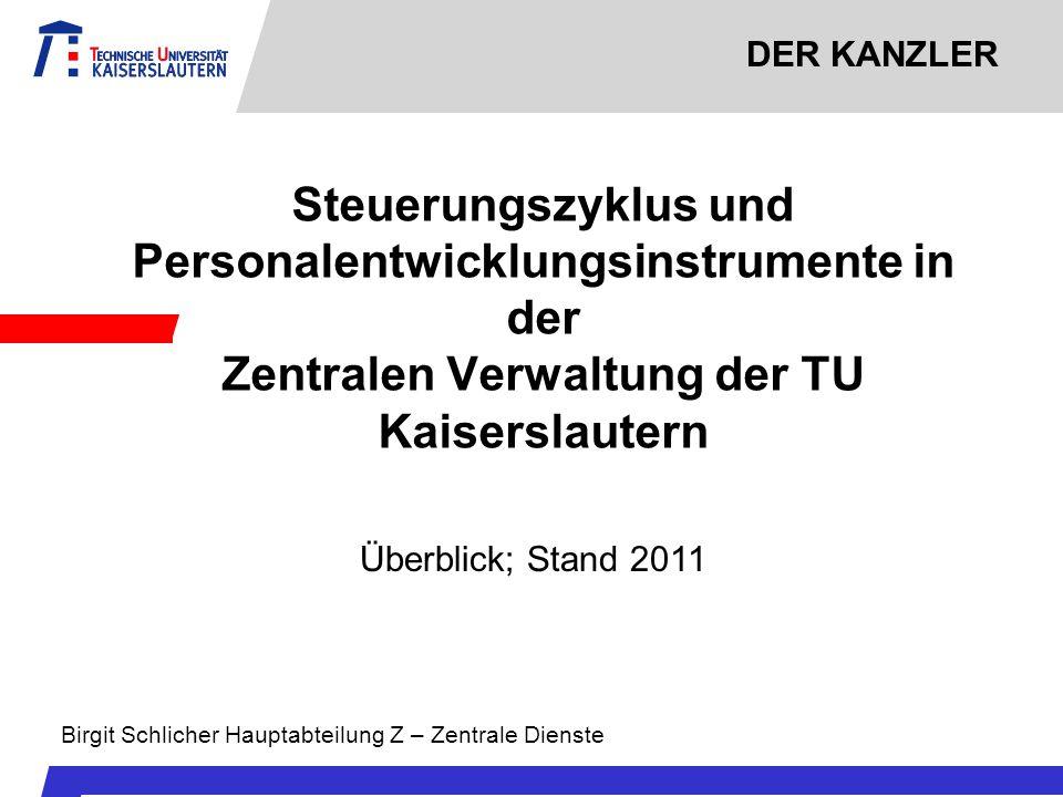 DER KANZLER Steuerungszyklus und Personalentwicklungsinstrumente in der Zentralen Verwaltung der TU Kaiserslautern Überblick; Stand 2011 Birgit Schlic