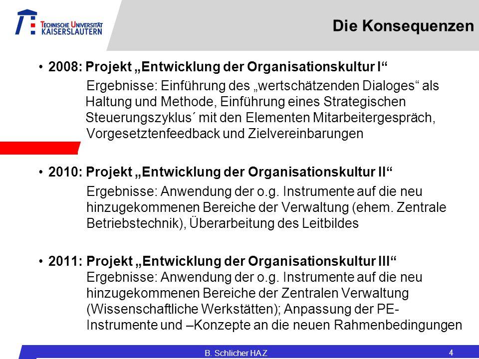 """Die Konsequenzen 2008:Projekt """"Entwicklung der Organisationskultur I"""" Ergebnisse: Einführung des """"wertschätzenden Dialoges"""" als Haltung und Methode, E"""