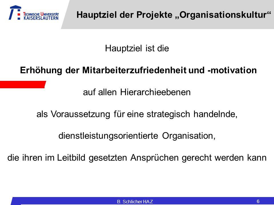 """B. Schlicher HA Z 6 Hauptziel der Projekte """"Organisationskultur"""" Hauptziel ist die Erhöhung der Mitarbeiterzufriedenheit und -motivation auf allen Hie"""