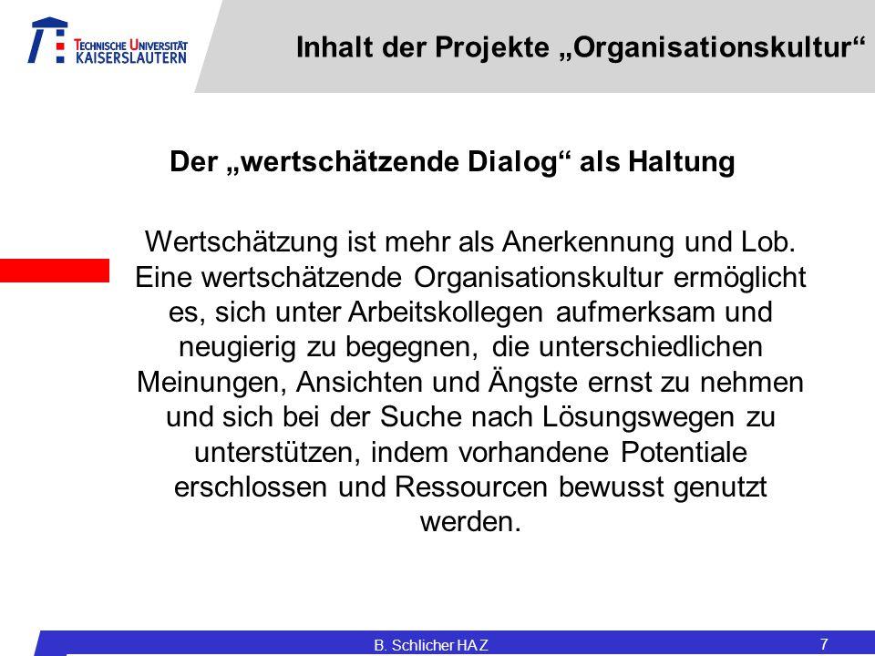 """B. Schlicher HA Z 7 Inhalt der Projekte """"Organisationskultur"""" Wertschätzung ist mehr als Anerkennung und Lob. Eine wertschätzende Organisationskultur"""