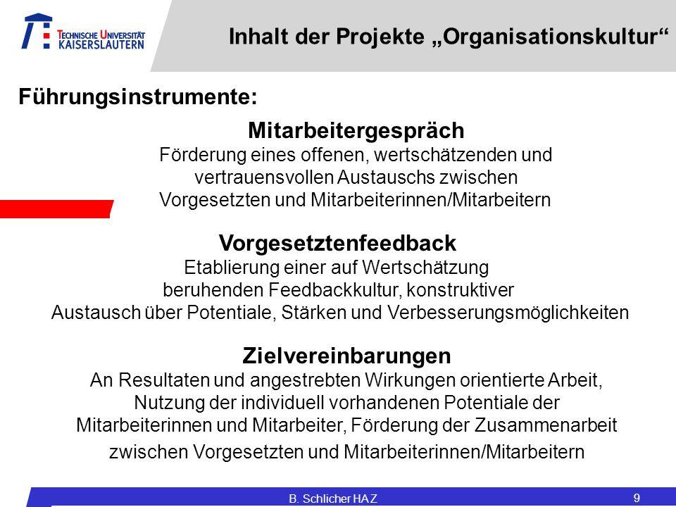 """B. Schlicher HA Z 9 Inhalt der Projekte """"Organisationskultur"""" Zielvereinbarungen An Resultaten und angestrebten Wirkungen orientierte Arbeit, Nutzung"""