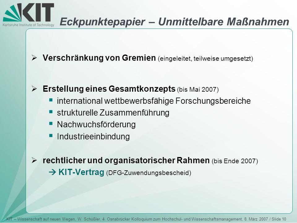 KIT – Wissenschaft auf neuen Wegen, W. Schüßler, 4. Osnabrücker Kolloquium zum Hochschul- und Wissenschaftsmanagement, 8. März 2007 / Slide 10  Versc