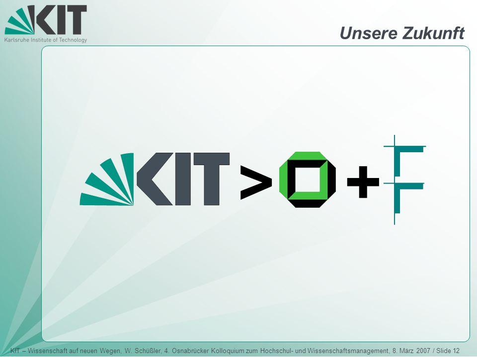 KIT – Wissenschaft auf neuen Wegen, W. Schüßler, 4. Osnabrücker Kolloquium zum Hochschul- und Wissenschaftsmanagement, 8. März 2007 / Slide 12 > + Uns