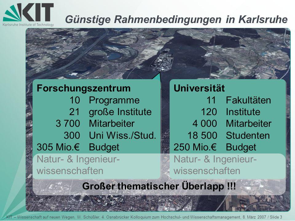 KIT – Wissenschaft auf neuen Wegen, W. Schüßler, 4. Osnabrücker Kolloquium zum Hochschul- und Wissenschaftsmanagement, 8. März 2007 / Slide 3 Günstige
