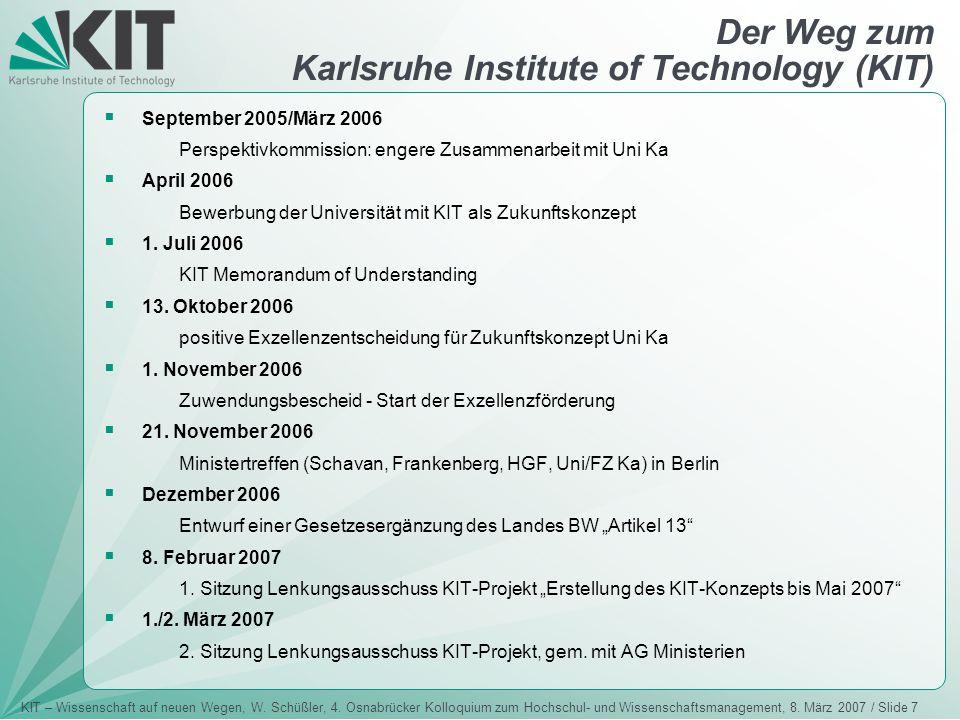 KIT – Wissenschaft auf neuen Wegen, W. Schüßler, 4. Osnabrücker Kolloquium zum Hochschul- und Wissenschaftsmanagement, 8. März 2007 / Slide 7 Der Weg