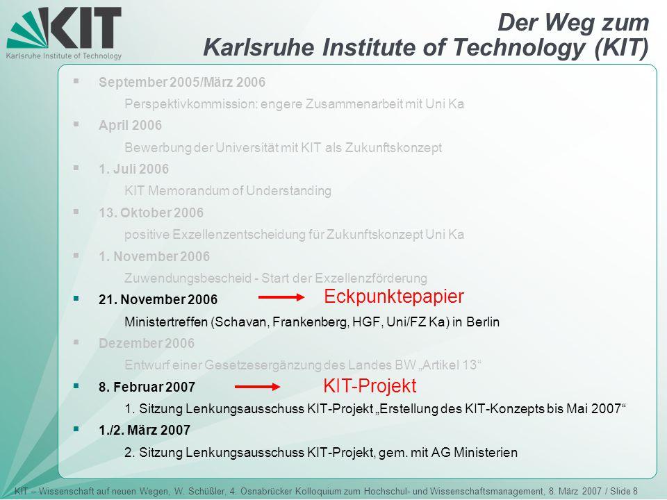 KIT – Wissenschaft auf neuen Wegen, W. Schüßler, 4. Osnabrücker Kolloquium zum Hochschul- und Wissenschaftsmanagement, 8. März 2007 / Slide 8 Der Weg