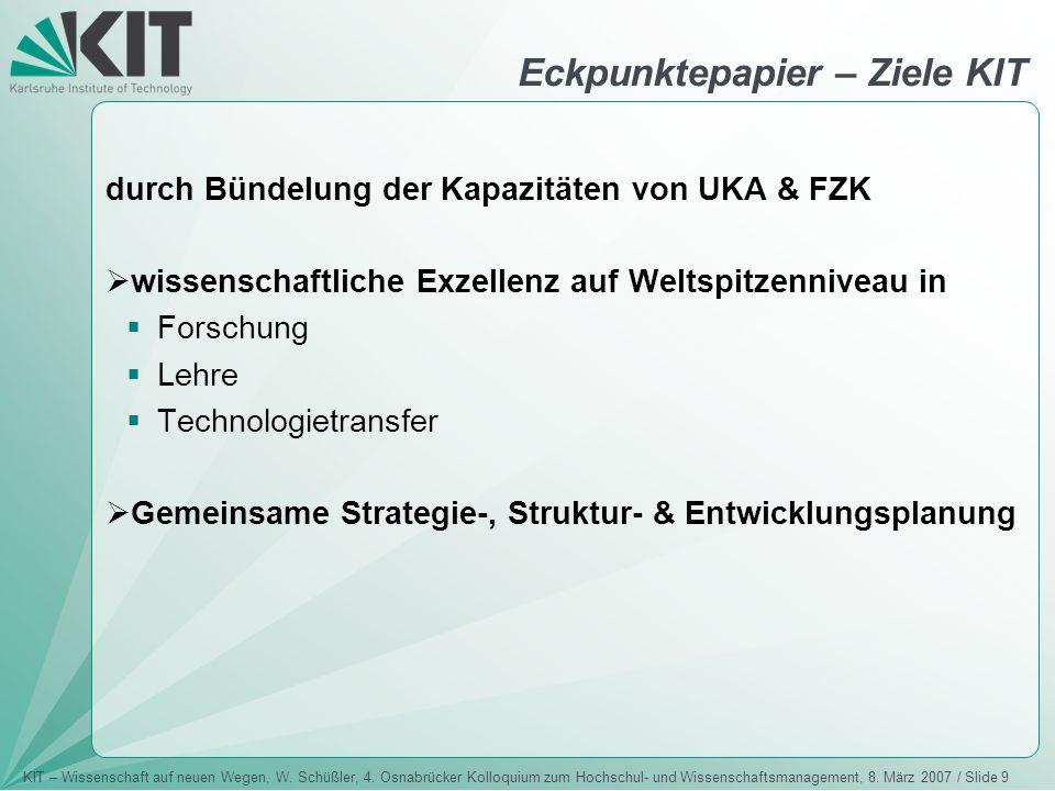 KIT – Wissenschaft auf neuen Wegen, W. Schüßler, 4. Osnabrücker Kolloquium zum Hochschul- und Wissenschaftsmanagement, 8. März 2007 / Slide 9 Eckpunkt