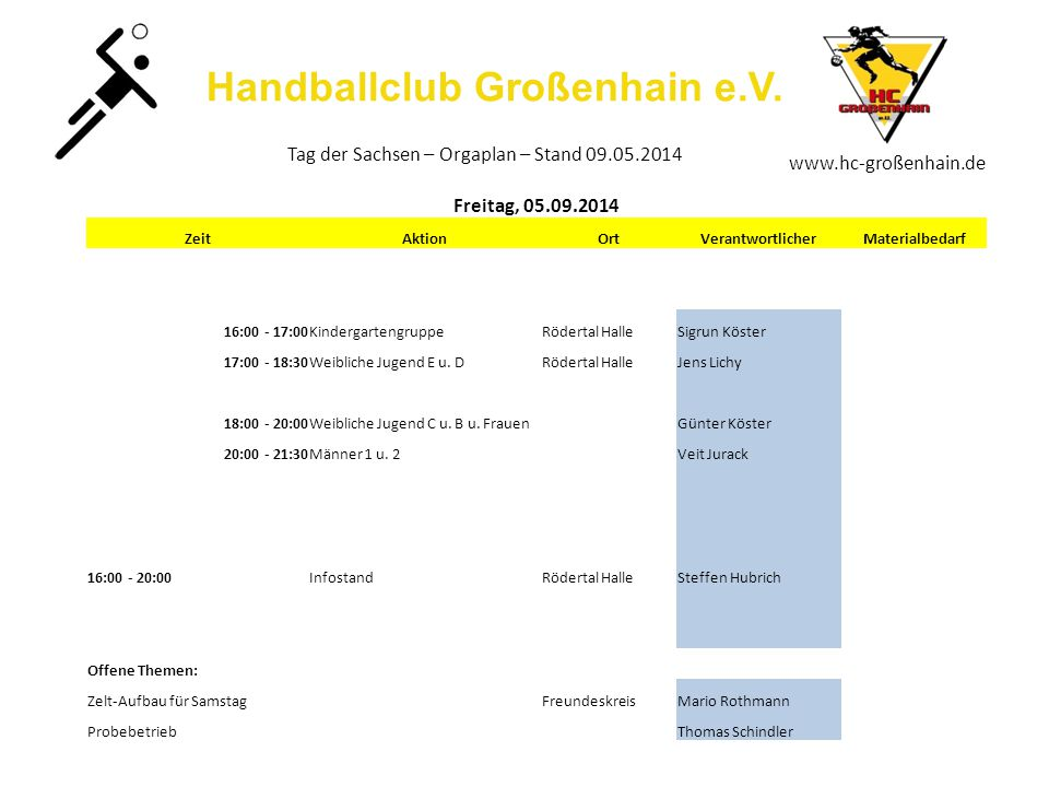 Handballclub Großenhain e.V. www.hc-großenhain.de Tag der Sachsen – Orgaplan – Stand 09.05.2014 Freitag, 05.09.2014 ZeitAktionOrtVerantwortlicherMater