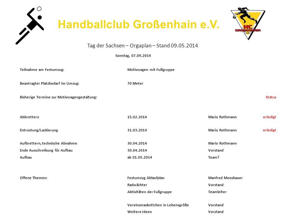 Handballclub Großenhain e.V. Tag der Sachsen – Orgaplan – Stand 09.05.2014 Sonntag, 07.09.2014 Teilnahme am Festumzug:Motivwagen mit Fußgruppe Beantra
