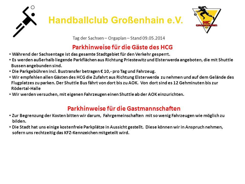Handballclub Großenhain e.V. Tag der Sachsen – Orgaplan – Stand 09.05.2014 Parkhinweise für die Gäste des HCG Während der Sachsentage ist das gesamte