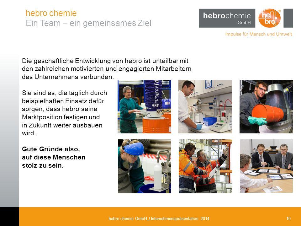 10hebro chemie GmbH_Unternehmenspräsentation 2014 hebro chemie Ein Team – ein gemeinsames Ziel Die geschäftliche Entwicklung von hebro ist unteilbar m