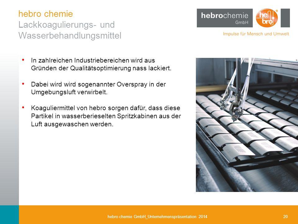 20hebro chemie GmbH_Unternehmenspräsentation 2014 In zahlreichen Industriebereichen wird aus Gründen der Qualitätsoptimierung nass lackiert. Dabei wir