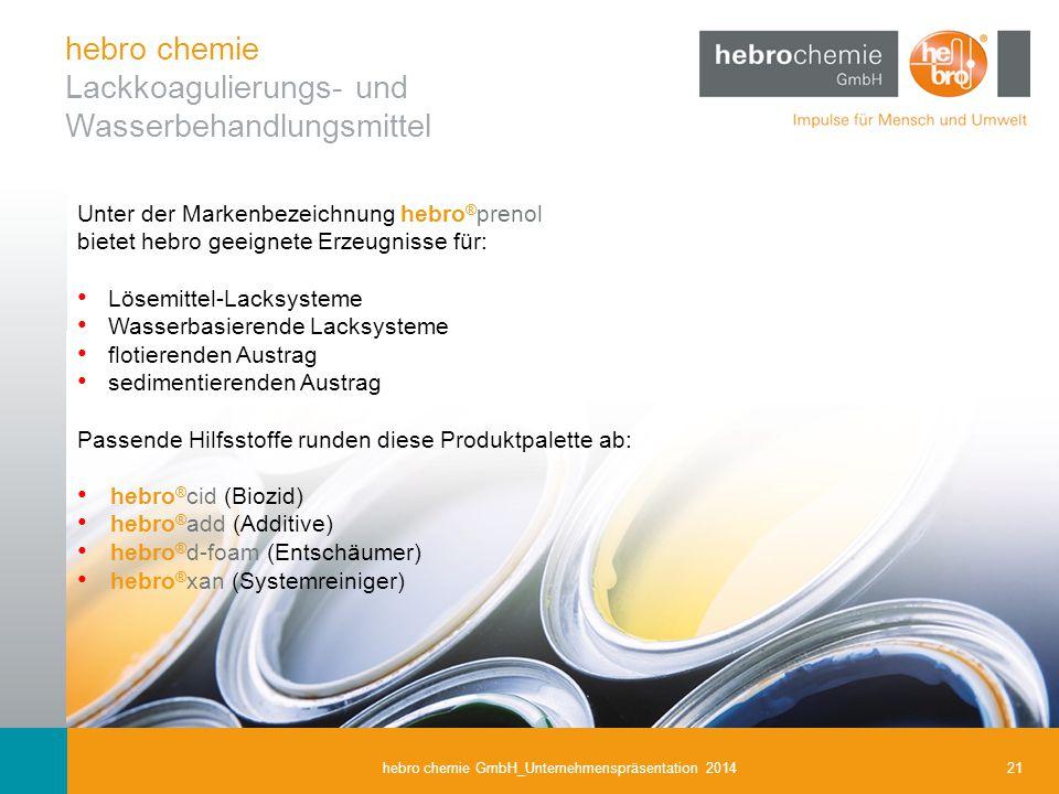 21hebro chemie GmbH_Unternehmenspräsentation 2014 Unter der Markenbezeichnung hebro ® prenol bietet hebro geeignete Erzeugnisse für: Lösemittel-Lacksy