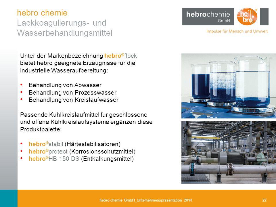 22hebro chemie GmbH_Unternehmenspräsentation 2014 Unter der Markenbezeichnung hebro ® flock bietet hebro geeignete Erzeugnisse für die industrielle Wa