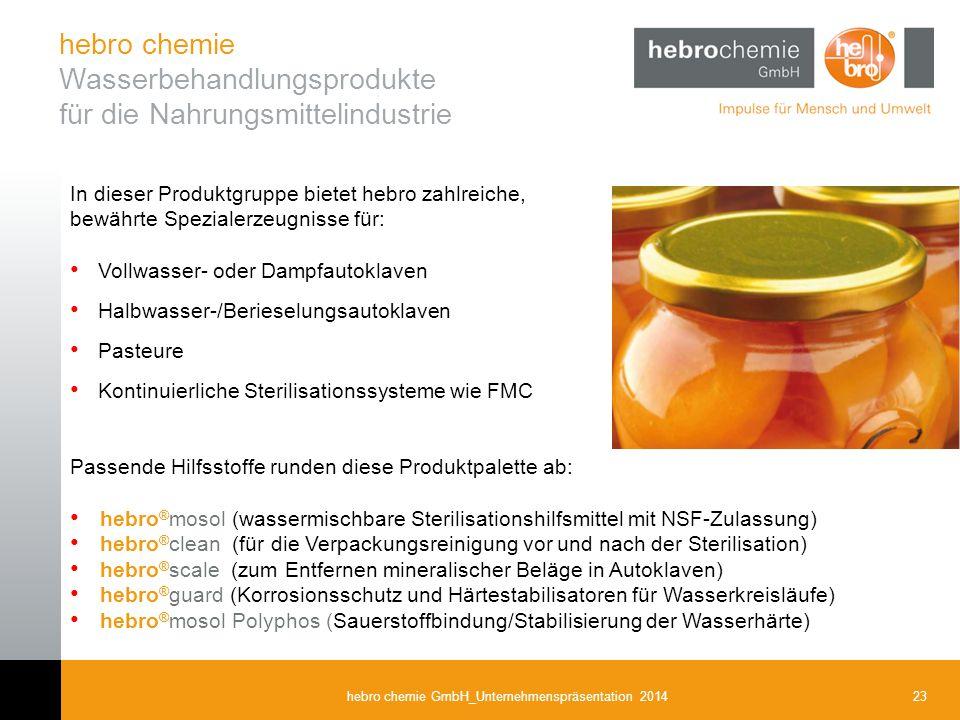 23hebro chemie GmbH_Unternehmenspräsentation 2014 In dieser Produktgruppe bietet hebro zahlreiche, bewährte Spezialerzeugnisse für: Vollwasser- oder D
