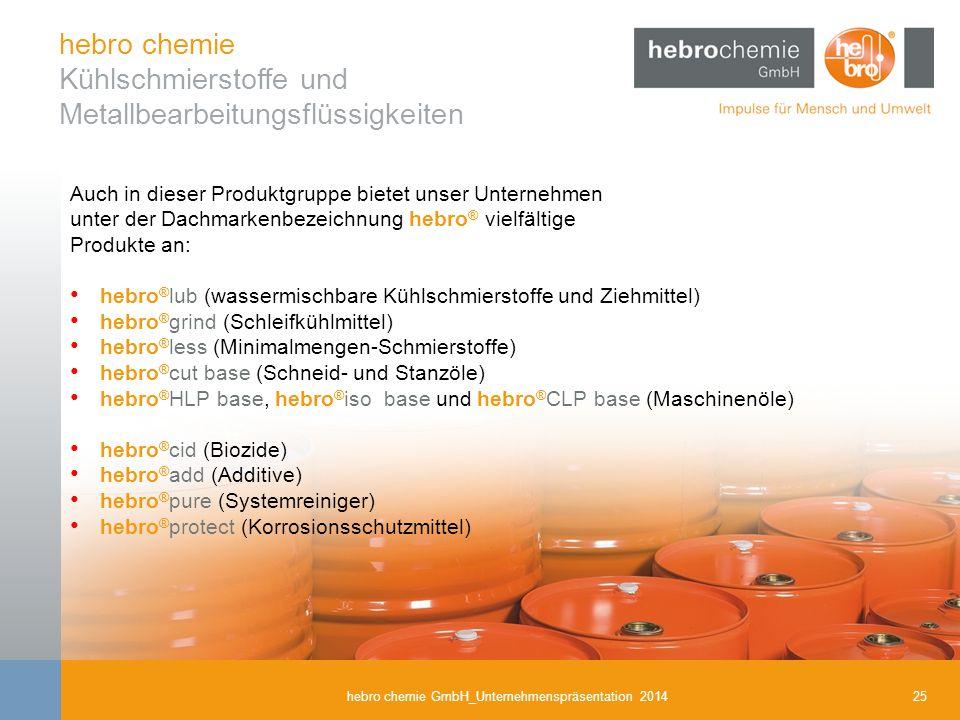 25hebro chemie GmbH_Unternehmenspräsentation 2014 hebro chemie Kühlschmierstoffe und Metallbearbeitungsflüssigkeiten Auch in dieser Produktgruppe biet