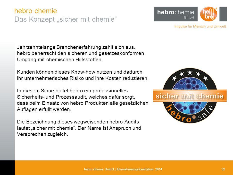 32hebro chemie GmbH_Unternehmenspräsentation 2014 Jahrzehntelange Branchenerfahrung zahlt sich aus. hebro beherrscht den sicheren und gesetzeskonforme