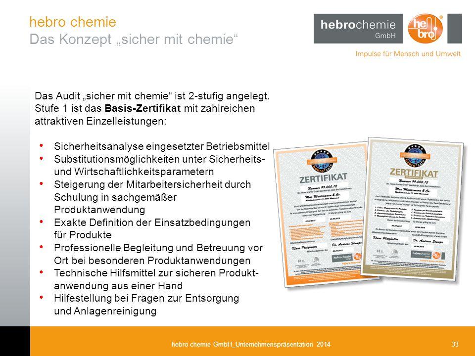 """33hebro chemie GmbH_Unternehmenspräsentation 2014 Das Audit """"sicher mit chemie"""" ist 2-stufig angelegt. Stufe 1 ist das Basis-Zertifikat mit zahlreiche"""